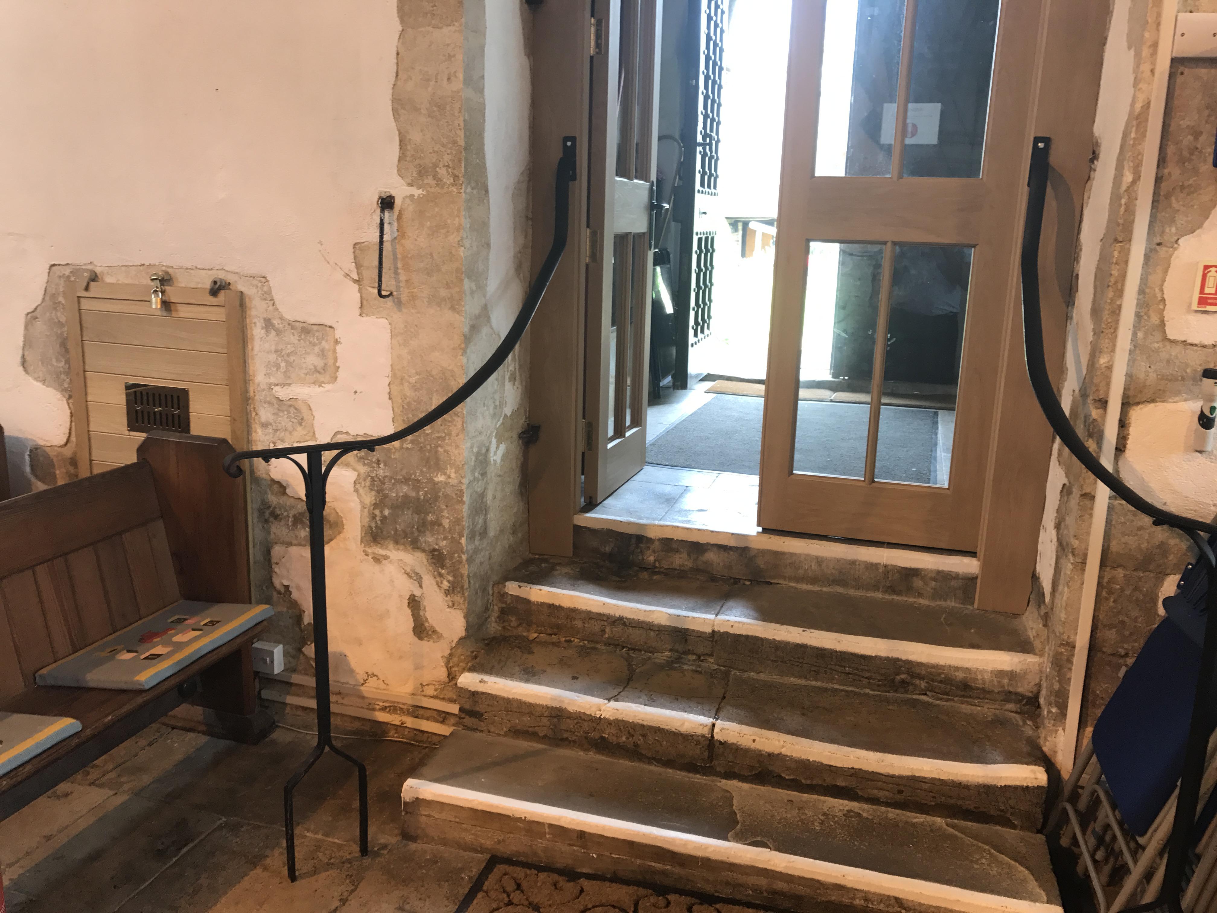 The handrails made by F C Harriss of Sturt Farm Burford
