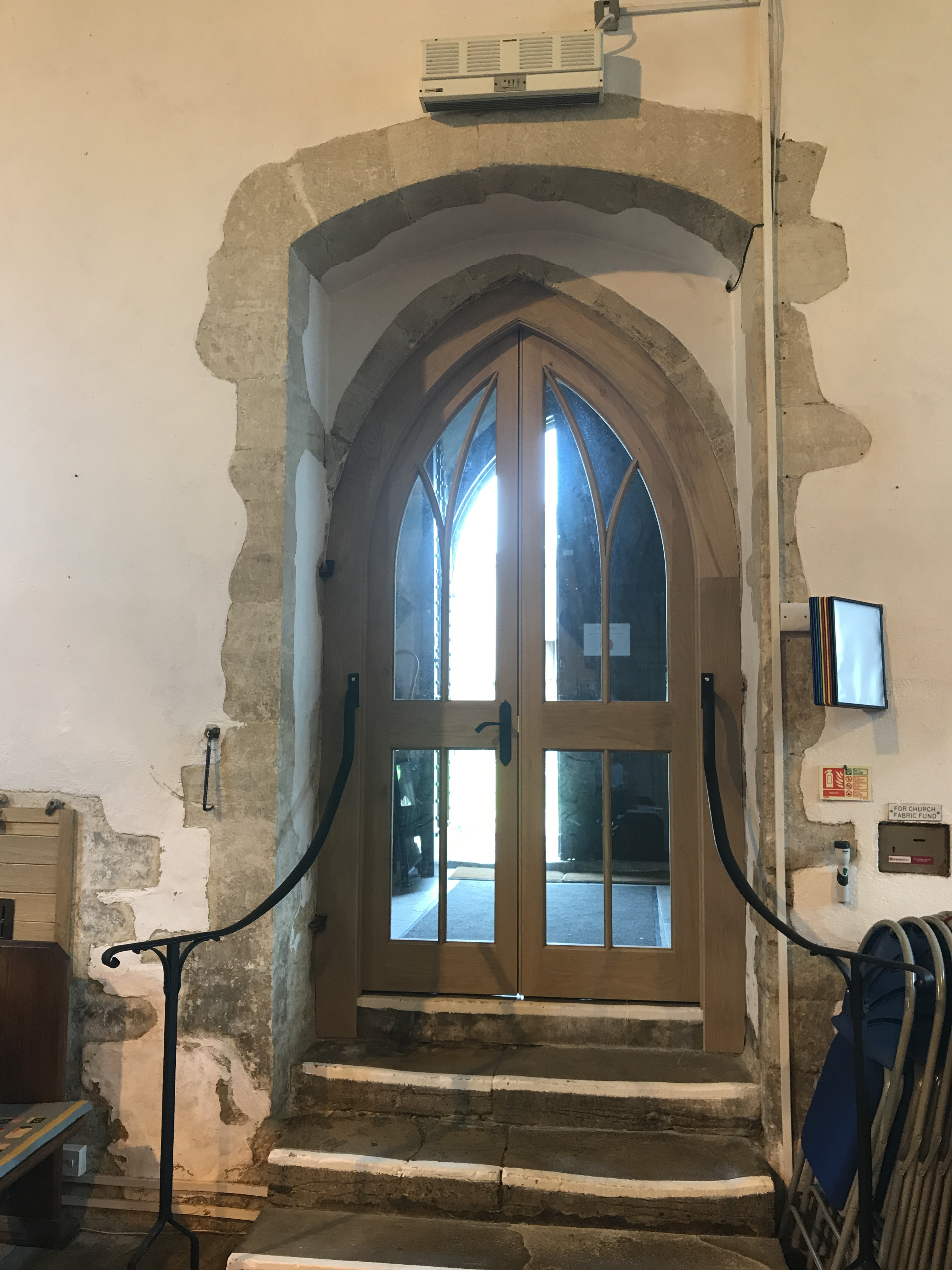 From inside with the new railings in place