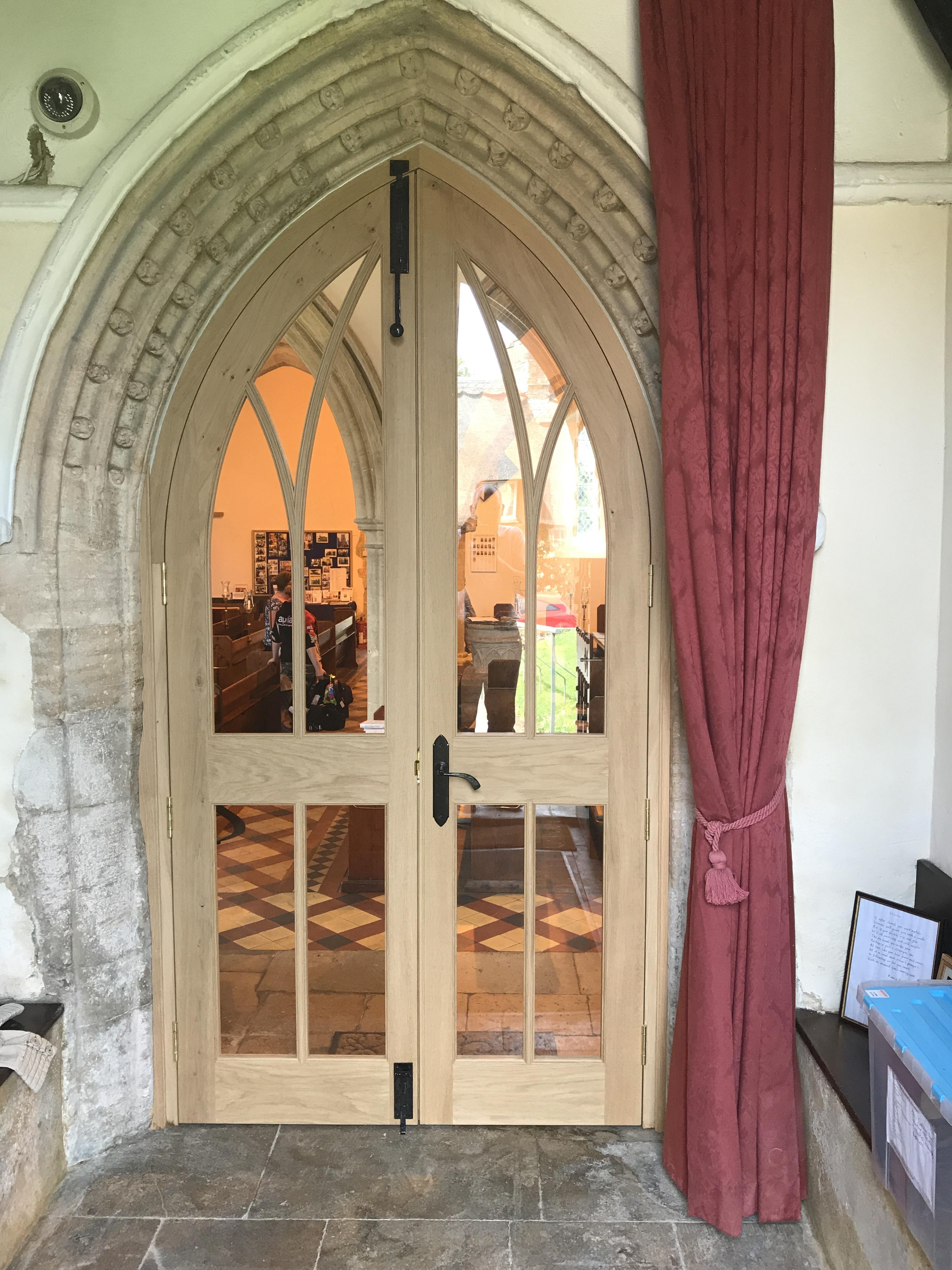 Looking in towards church