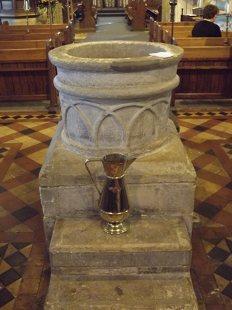 The font at St Bartholomew's (12th century)